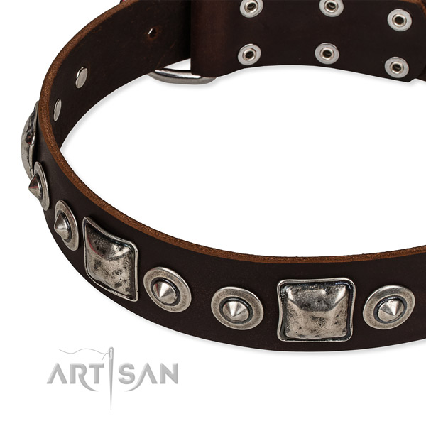 Leather dog collar made of soft material with decorations