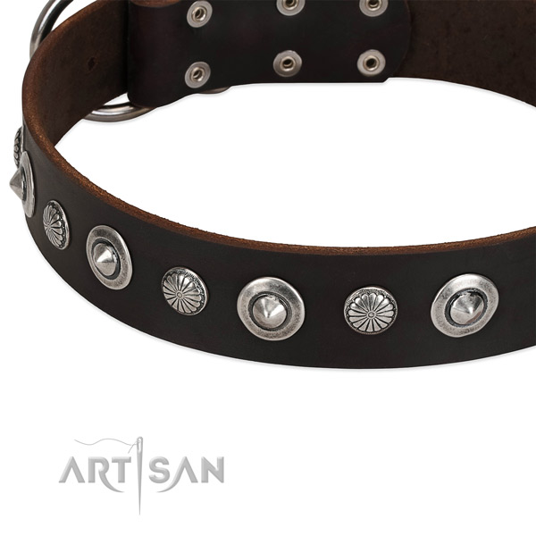 Awesome embellished dog collar of reliable full grain leather