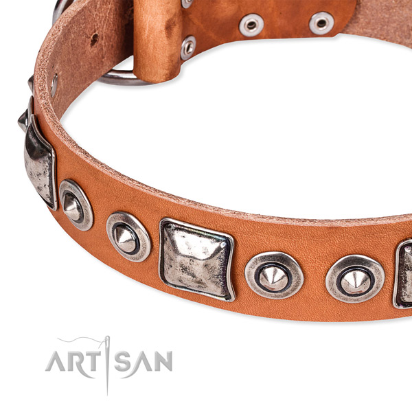 Gentle to touch natural genuine leather dog collar handmade for your lovely canine