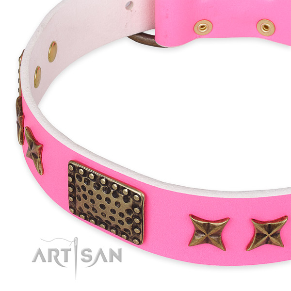 Leather collar with corrosion resistant traditional buckle for your handsome canine
