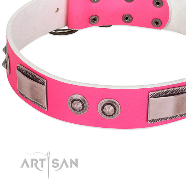 Remarkable full grain natural leather collar with embellishments for your pet