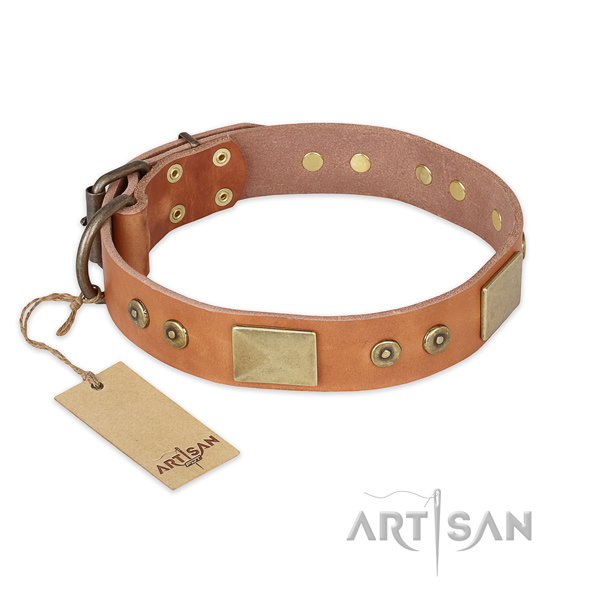 Amazing natural genuine leather dog collar for daily use
