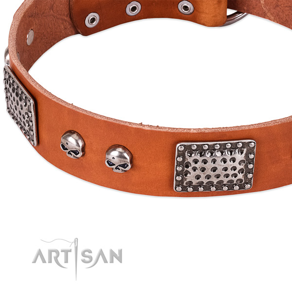 Corrosion resistant hardware on full grain leather dog collar for your doggie