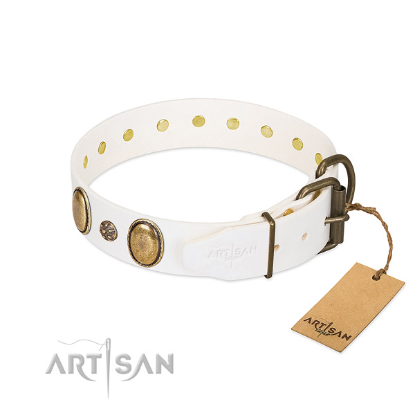 Daily use gentle to touch full grain leather dog collar with decorations
