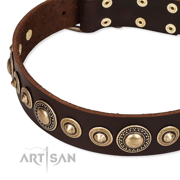 Gentle to touch genuine leather dog collar made for your stylish pet