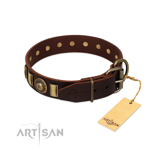 Top notch leather dog collar with rust-proof D-ring