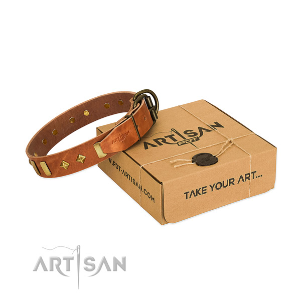 Comfy wearing high quality full grain leather dog collar with adornments