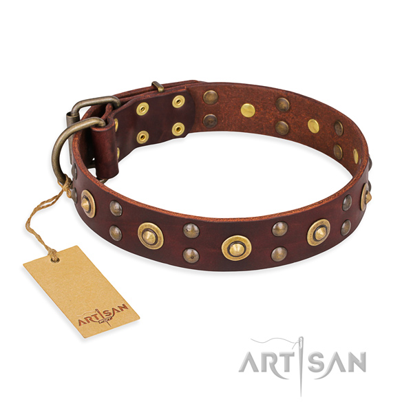 Easy adjustable leather dog collar with durable buckle