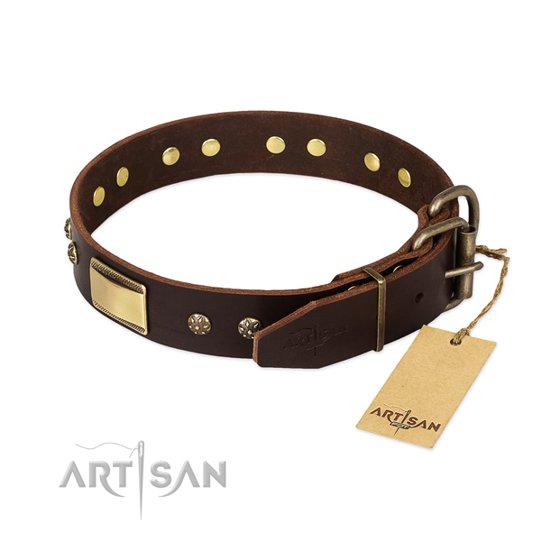 Handcrafted genuine leather collar for your dog