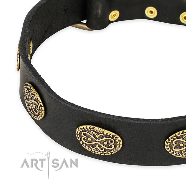 Decorated full grain natural leather collar for your attractive pet
