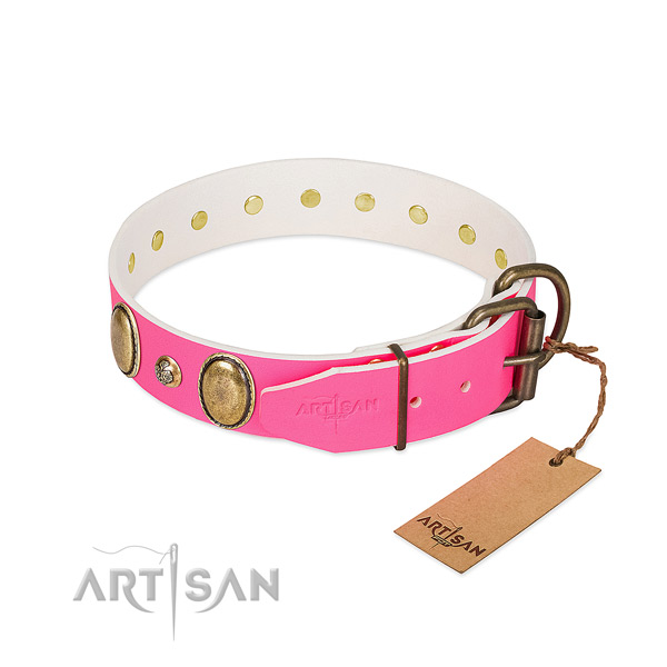 Walking gentle to touch full grain natural leather dog collar