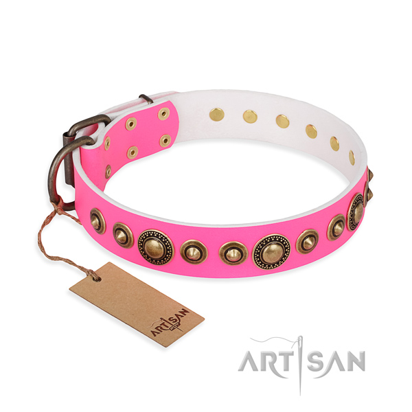 Flexible leather collar handcrafted for your dog