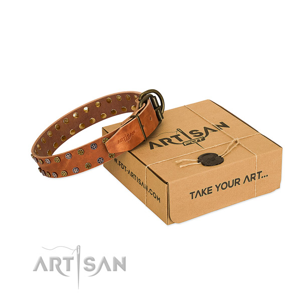 Comfortable wearing top rate full grain natural leather dog collar with studs