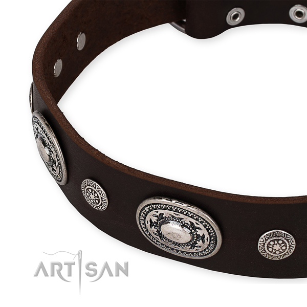 Flexible full grain genuine leather dog collar crafted for your attractive four-legged friend