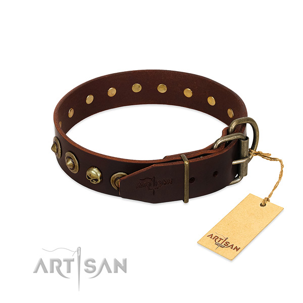 Genuine leather collar with top notch decorations for your dog