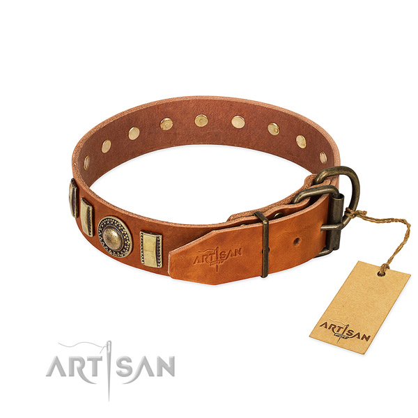 Remarkable full grain genuine leather dog collar with rust-proof D-ring