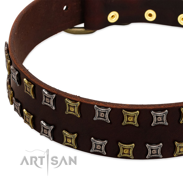 Flexible full grain natural leather dog collar for your impressive dog