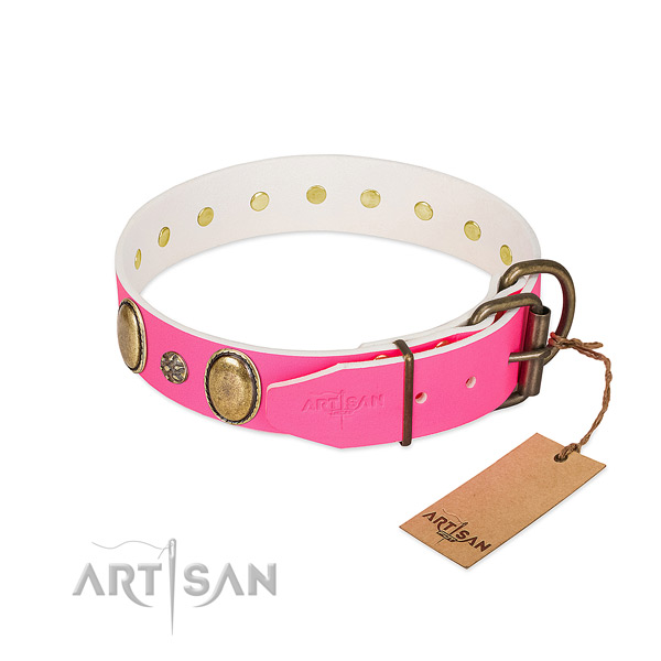 Soft genuine leather dog collar with studs