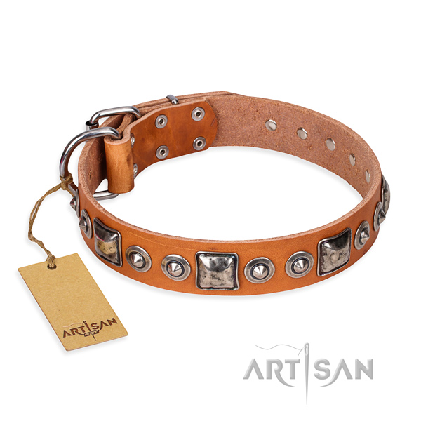 Full grain leather dog collar made of best quality material with corrosion resistant hardware