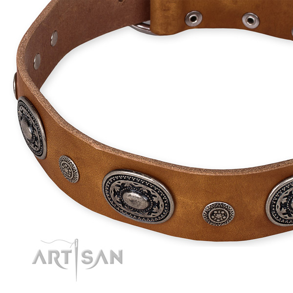 Soft to touch leather dog collar made for your handsome canine