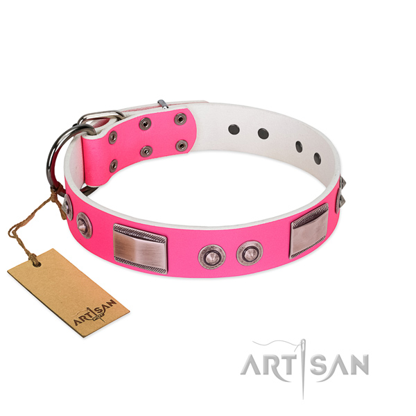 Convenient full grain genuine leather collar with embellishments for your dog