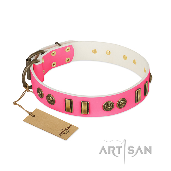 Inimitable natural leather collar for your pet