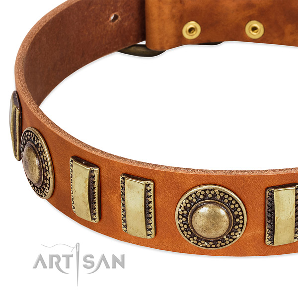 Top notch full grain genuine leather dog collar with durable buckle