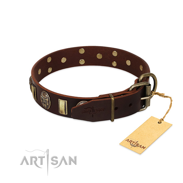 Full grain genuine leather dog collar with rust-proof buckle and decorations