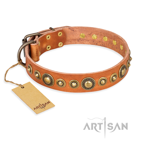 Gentle to touch full grain natural leather collar created for your pet