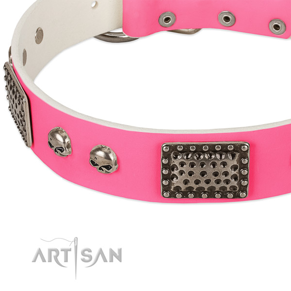 Reliable fittings on full grain leather dog collar for your doggie