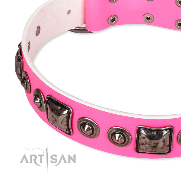 Gentle to touch natural genuine leather dog collar crafted for your beautiful dog