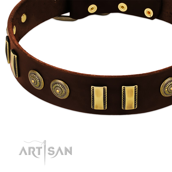 Corrosion proof fittings on full grain leather dog collar for your four-legged friend