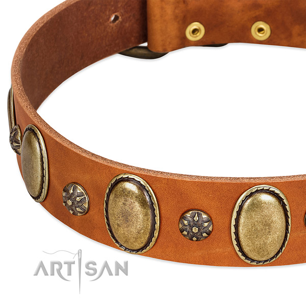 Handy use high quality full grain genuine leather dog collar