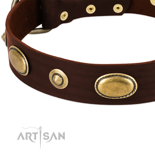 Strong studs on full grain genuine leather dog collar for your doggie