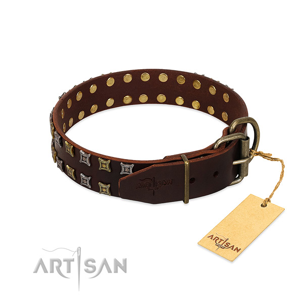 Reliable full grain genuine leather dog collar created for your canine