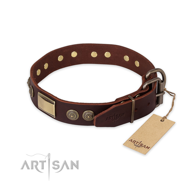 Strong D-ring on full grain leather collar for basic training your doggie