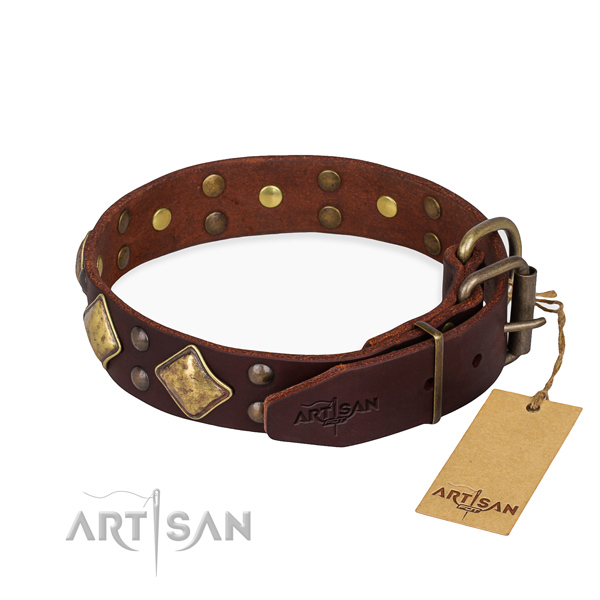 Natural leather dog collar with inimitable rust-proof decorations