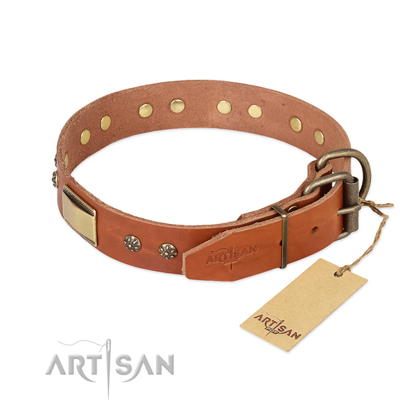 Full grain natural leather dog collar with rust-proof traditional buckle and studs