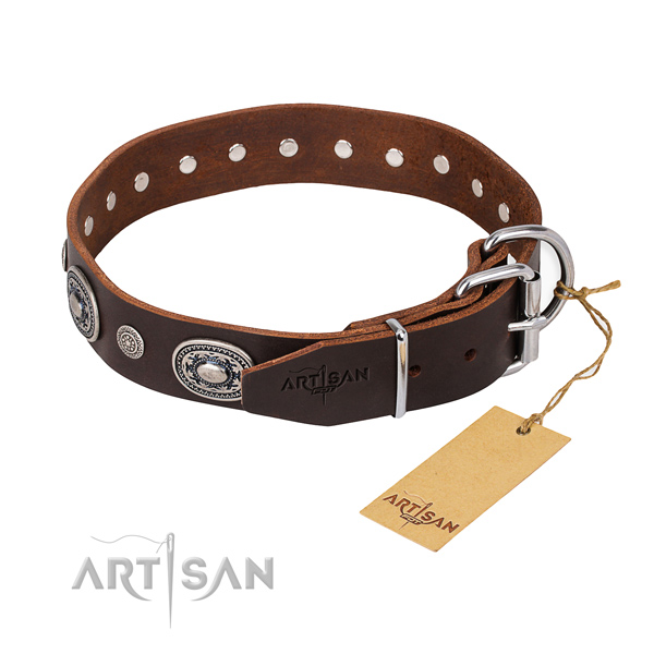 Quality leather dog collar made for easy wearing