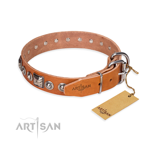 Full grain leather dog collar made of soft to touch material with durable studs