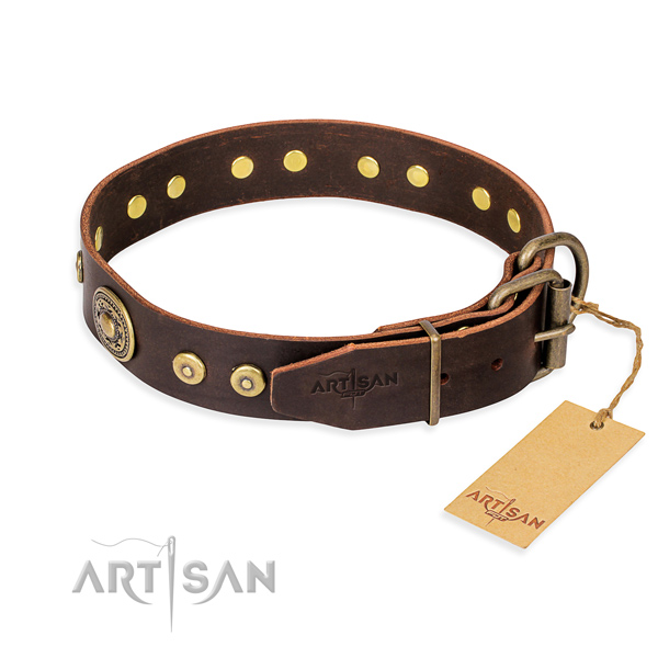 Full grain natural leather dog collar made of high quality material with rust resistant studs