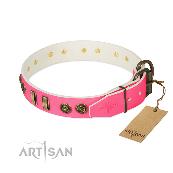 Corrosion resistant decorations on full grain genuine leather dog collar for your dog