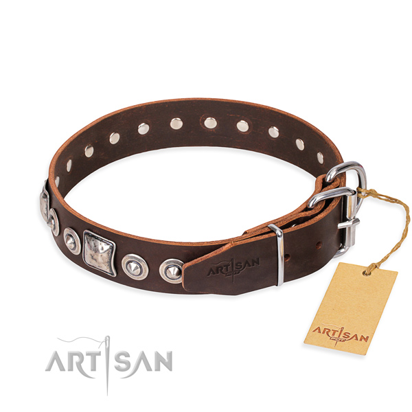 Full grain natural leather dog collar made of quality material with corrosion proof decorations