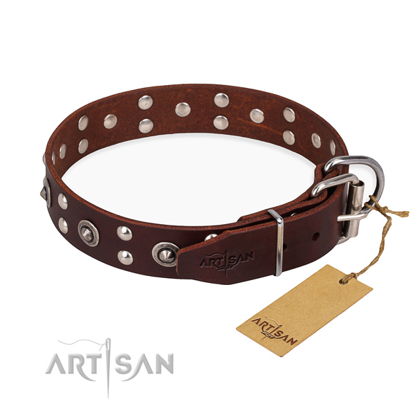 Reliable buckle on full grain genuine leather collar for your impressive canine