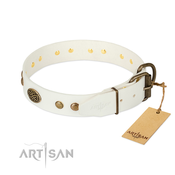 Durable decorations on genuine leather dog collar for your doggie