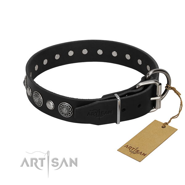 Reliable genuine leather dog collar with exquisite adornments