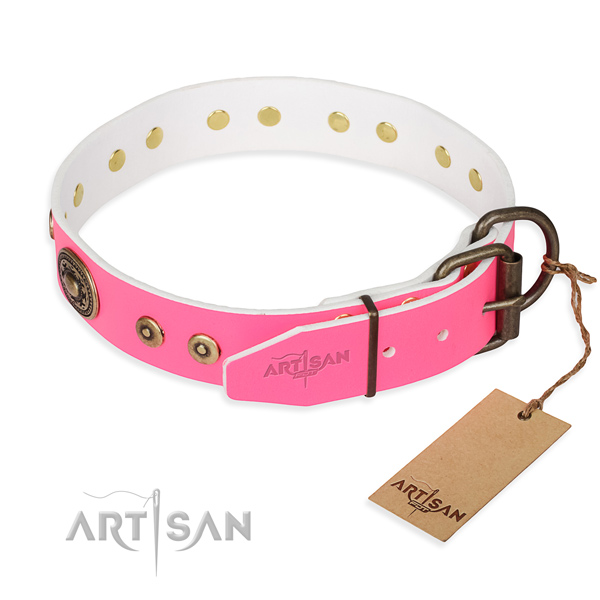 Leather dog collar made of quality material with rust resistant studs