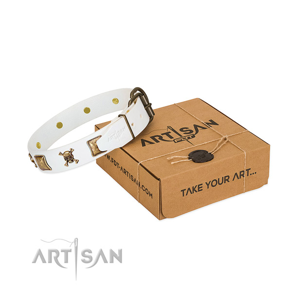 Amazing full grain genuine leather dog collar with reliable decorations