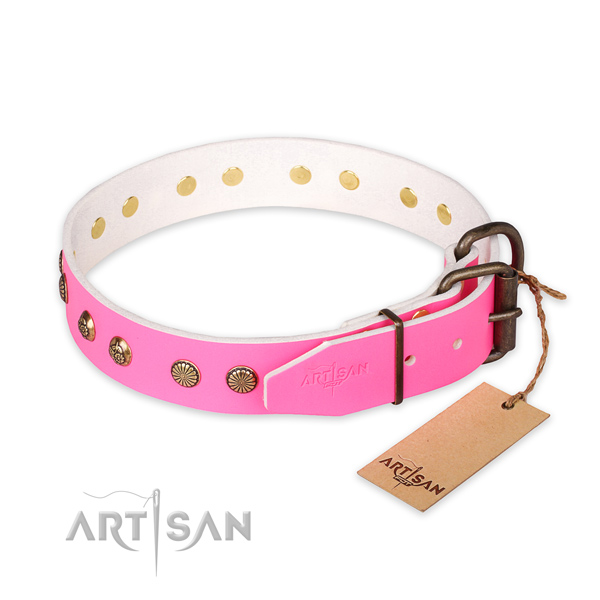 Reliable hardware on full grain genuine leather collar for your stylish pet