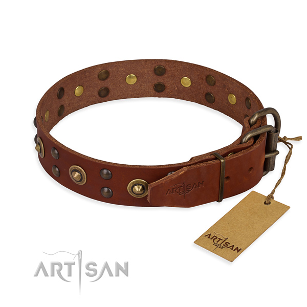 Strong hardware on full grain leather collar for your handsome four-legged friend